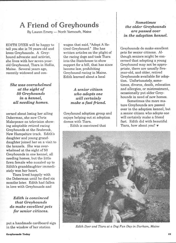 A friend of greyhounds - Edith Dyer Emery