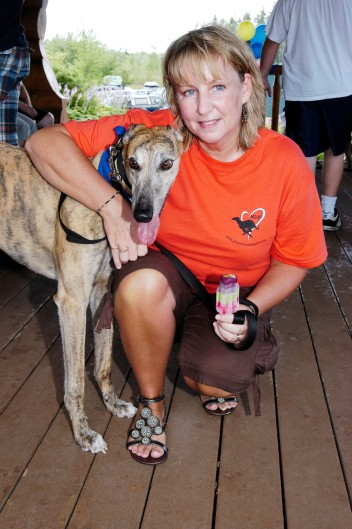 Deb Levasseur and her greyhound, Hughie.